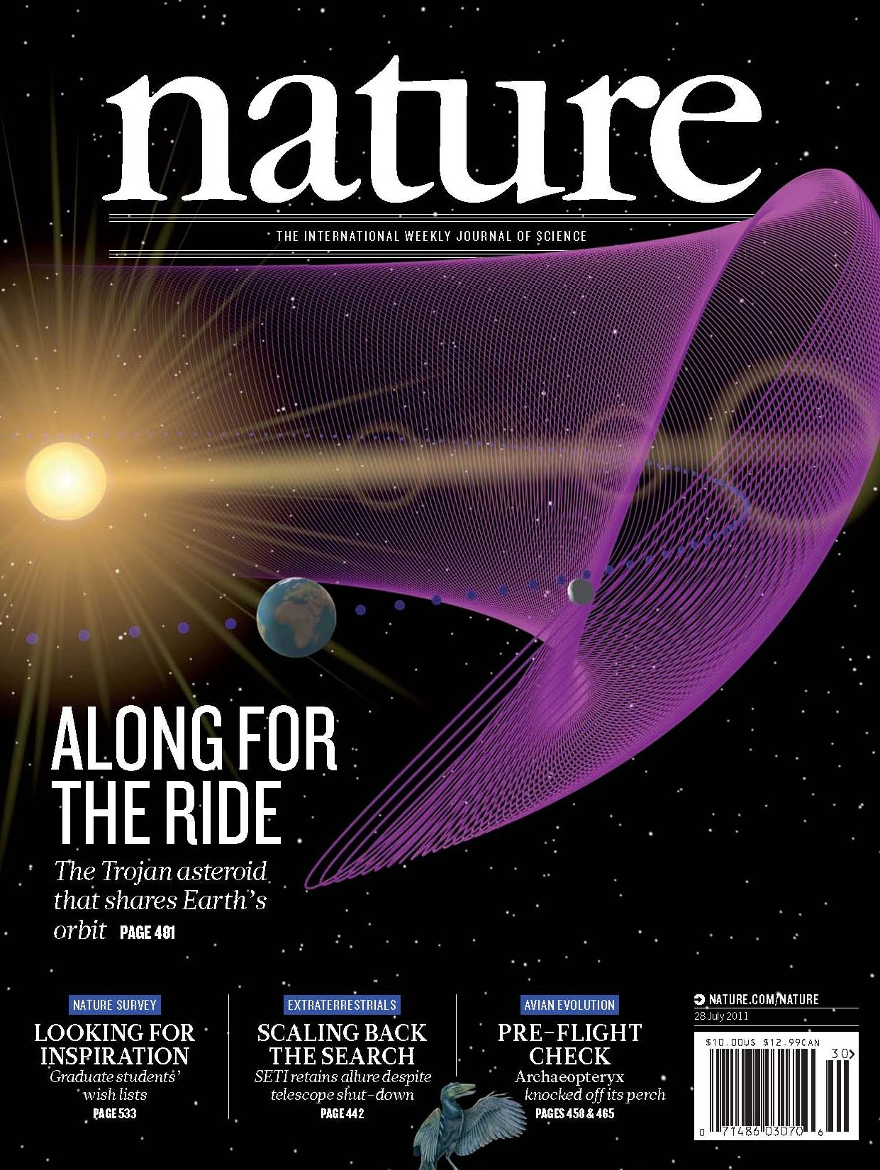 nature earth trojan asteroid discovered hawaii cfht magazine cover respect