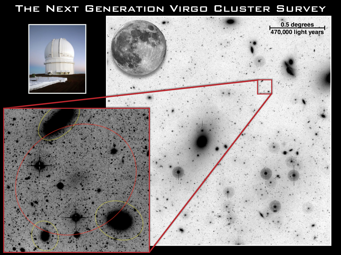 Example of a Low Surface Brightness Galaxy in the Virgo cluster. These galaxies are very hard to detect and the LSB mode on MegaCam enabled the possibility of such detections.